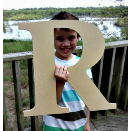 Wooden Craft Letter, Wall Hanging, 12'' Times R, Paintable Letter