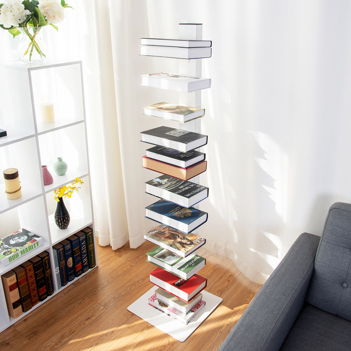 Costway 59'' Spine Book Tower 11 Shelf Bookcase Media Storage Floating Open CD Rack