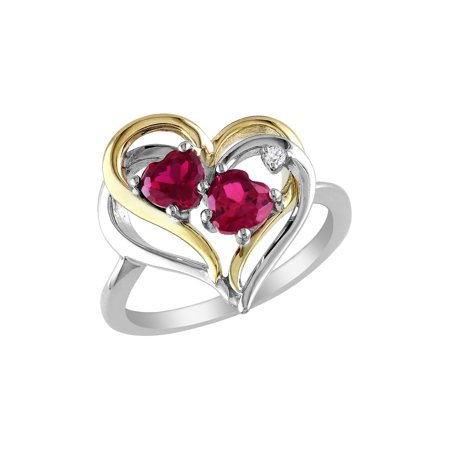 Created Ruby Heart Ring 1.10 Carat (ctw) with Diamonds in Sterling Silver with Yellow Plating - image 3 de 3