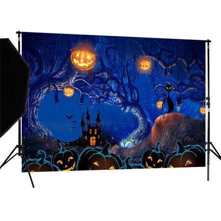 GreenDecor Polyster 7X5ft Halloween Photography Backdrop Photo Background Studio - Halloween Photo Backdrops