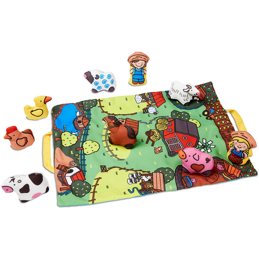 Melissa Doug Take Along Farm Baby And Toddler Play Mat 19 25 X 14 5 Inches With 9 Animals Folds To Be Convenient Storage Bag For Travel Walmart Com Walmart Com