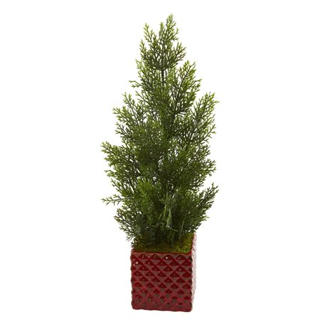 "Nearly Natural 25"" Mini Cedar Pine Artificial Tree in Red Planter (Indoor/Outdoor)"