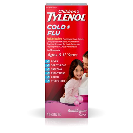 Children's Tylenol Cold and Flu Oral Suspension, Bubblegum, 4 Fl. Oz Tylenol Childrens Oral Suspension