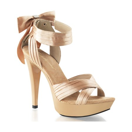 womens champagne satin 5 inch platform high heel sandals shoes with bow detail