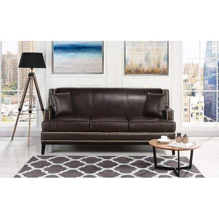 Classic Leather Sofa Nailhead Trim Detail (Brown)