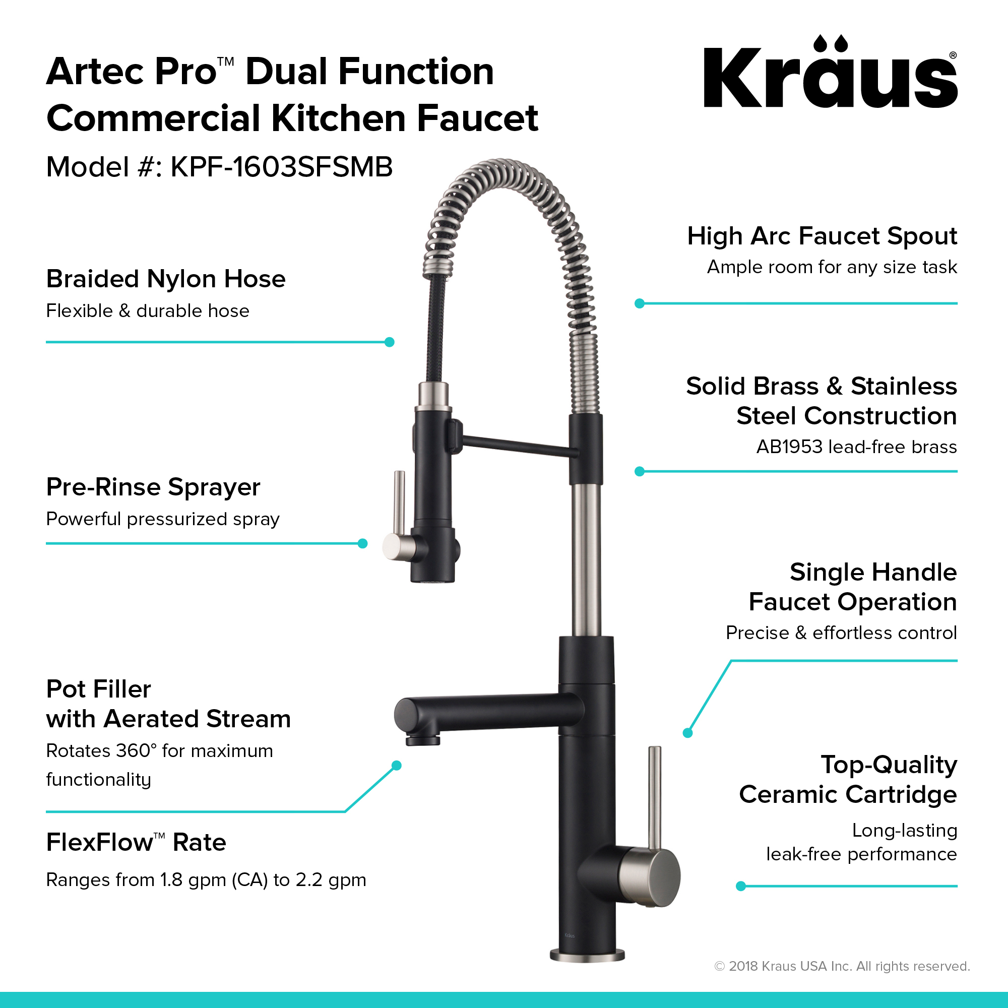 Kraus Artec Pro Spot Free Finish 2 Function Commercial Style Pre Rinse Kitchen Faucet With Pull Down Spring Spout And Pot Filler Stainless
