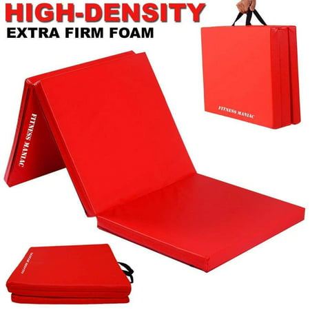 Foam Trim (Fitness Maniac High Density Extra Firm Folding Mat Thick Foam Exercise Gymnastics Panel Gym Tri Fold Mat Non Slip Mats with Carrying Handles Yoga Aerobics Workout Training Red)