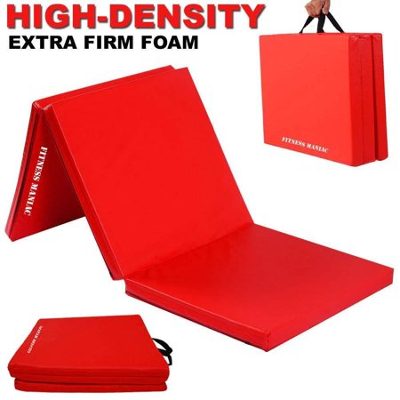 Fitness Maniac High Density Extra Firm Folding Mat Thick Foam Exercise Gymnastics Panel Gym Tri Fold Mat Non Slip Mats with Carrying Handles Yoga Aerobics Workout Training - Mat Halloween Trainer 2