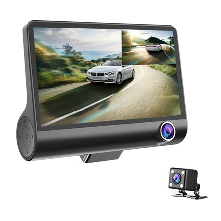Car DVR Camera 4.0in 3 Way Lens Video Driving Recorder Rear View Auto Registrator With 2 Cameras Dash Cam DVRS Carcorder Night Vision Parking Monitor - image 2 of 7