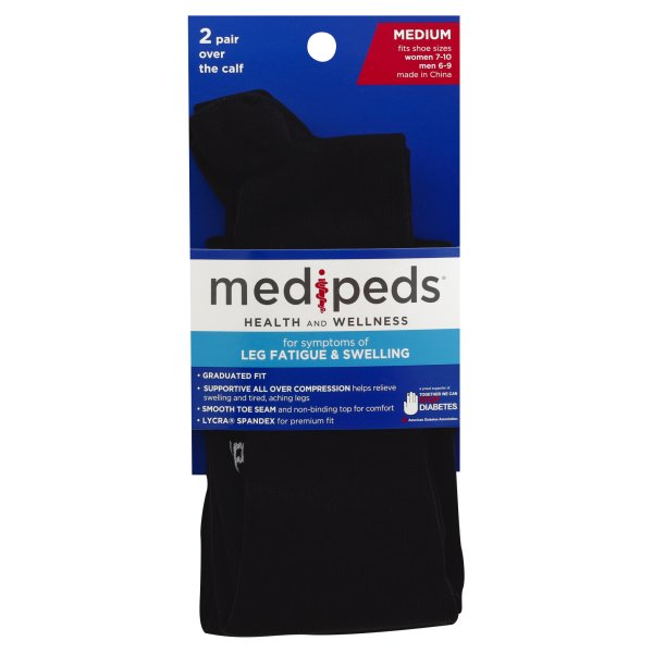Medipeds Medium Over the Calf Socks, 1 pack