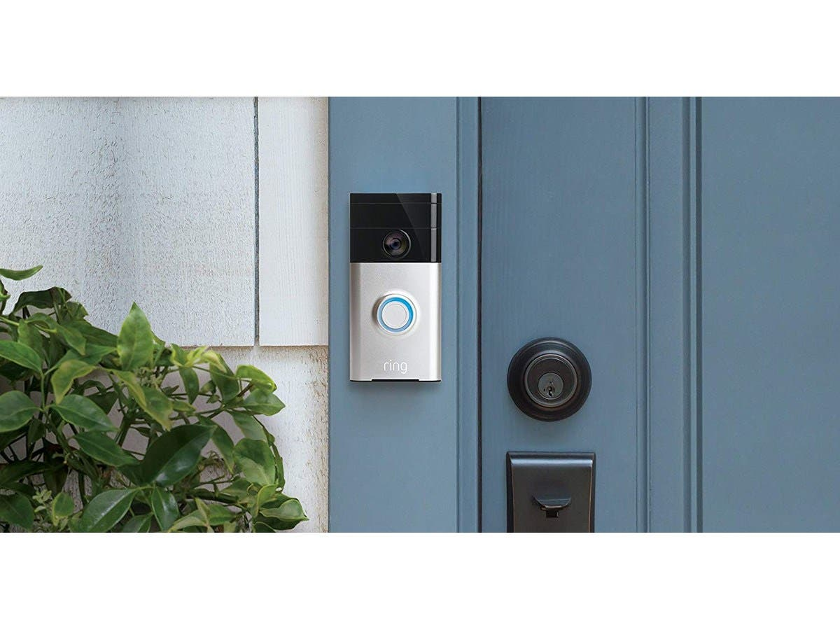 Works with Alexa Ring Wi-Fi Enabled Video Doorbell in Satin Nickel