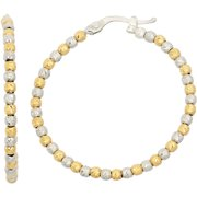 14kt Gold- and Rhodium-Plated Sterling Silver 30mm DC Beaded Hoop Earrings