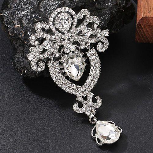 Art Deco Style Brooch.Rhinestone Brooch.Art Deco Silver Brooch.Art Deco Crystal Brooch.Holiday Brooch Pin.Wedding  Brooch Pin.Brides Jewelry