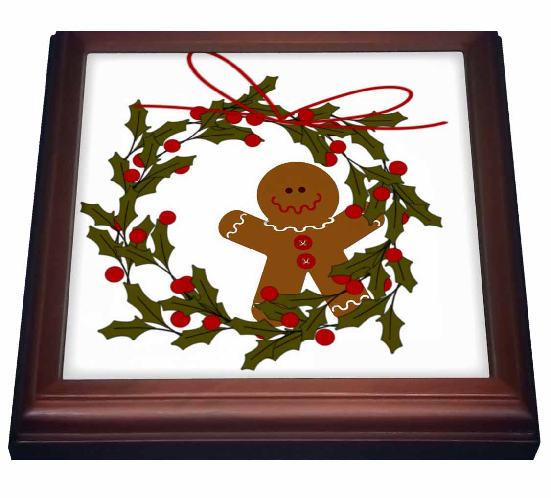 3dRose Wreath With Gingerbread Man and Holly, Trivet with Ceramic Tile, 8 by 8-inch