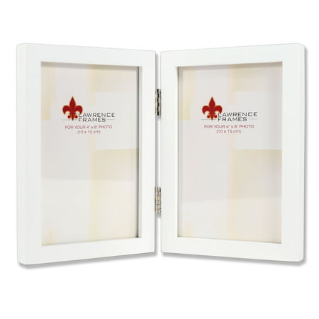 4x6 Hinged Double White Wood Picture Frame - Gallery Collection
