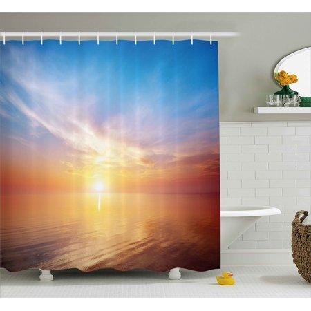 Sunrise Shower Curtain Magical Horizon Seascape Bay Ocean Coastal Charm Sky Tranquil Summer Image