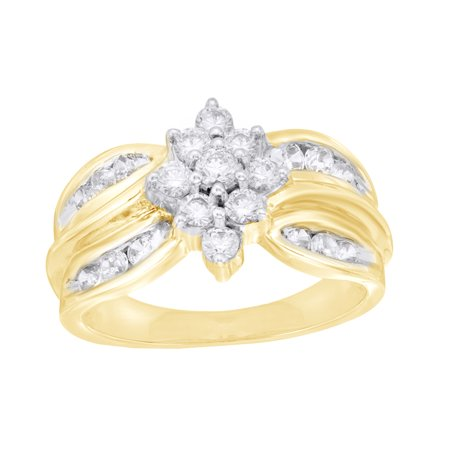 Round Cut White Natural Diamond Marquise Cluster Ring in 10K Yellow Gold (1 cttw)