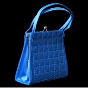 Stylish Blue Latticed Ladies Evening Bag - Beaded Sequin Satin PS4740