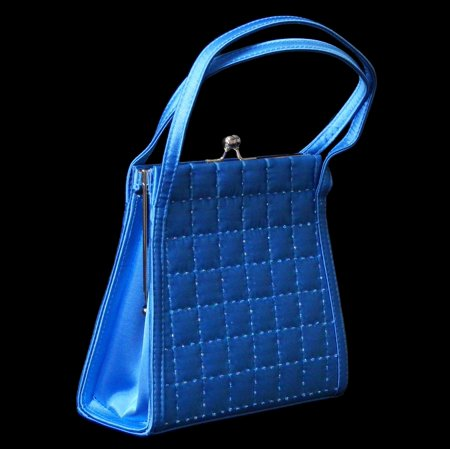 Stylish Blue Latticed Ladies Evening Bag - Beaded Sequin Satin PS4740 Beads And Sequins Pouch