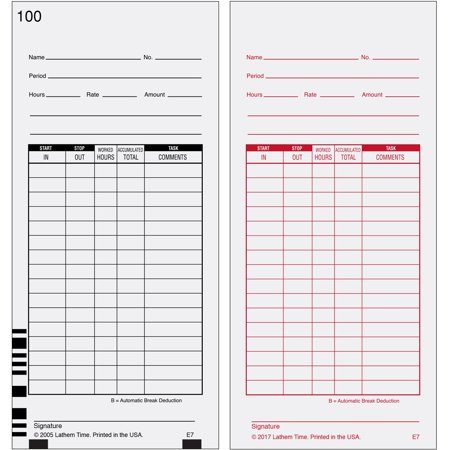 Time Cards Calculator - Lathem, LTHE7100, 7000E Double-Sided Time Cards, 100 / Pack, White