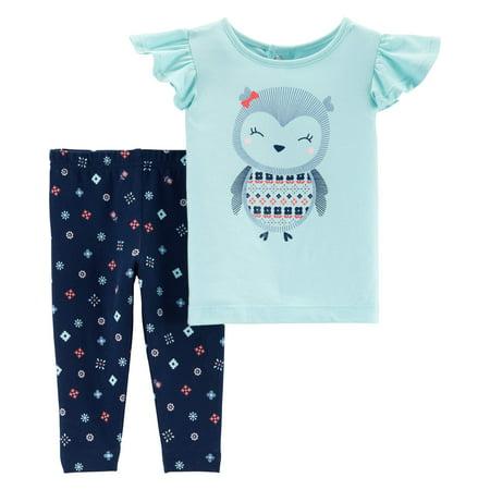 Short Sleeve Ruffle T-Shirt & Leggings, 2-Piece Outfit Set (Toddler Girls)