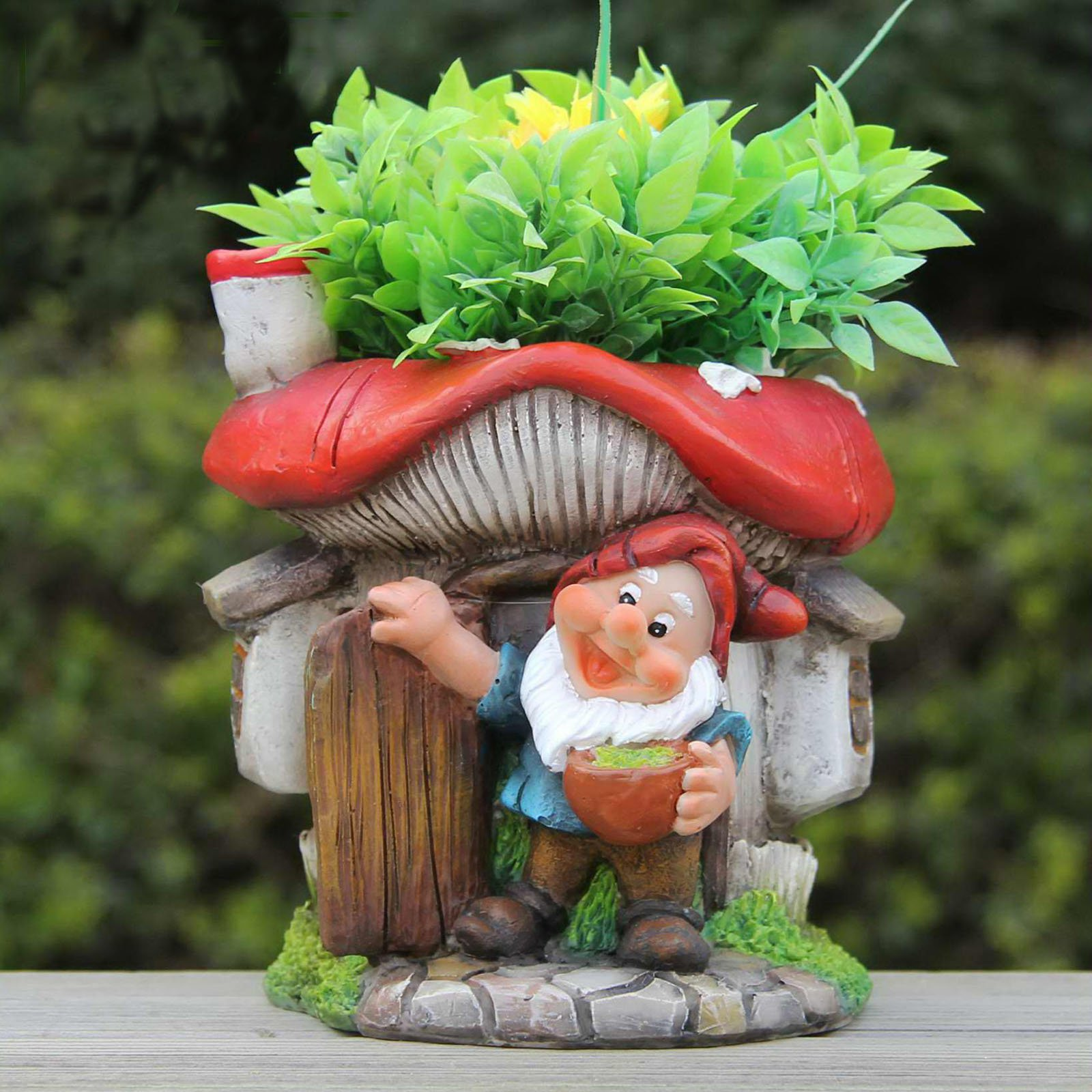 SINTECHNO Cute Gnome with Red Mushroom House Flower Pot Planter