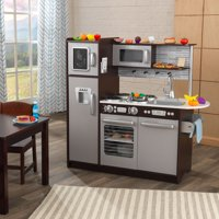 Deals on KidKraft Uptown Espresso Kitchen with 30 Piece Play Food Accessory Set