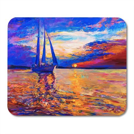 SIDONKU Colorful Color Oil Painting on Canvas Sunset Over The Sea and Sailboat Modern Orange Landscape Mousepad Mouse Pad Mouse Mat 9x10 inch ()