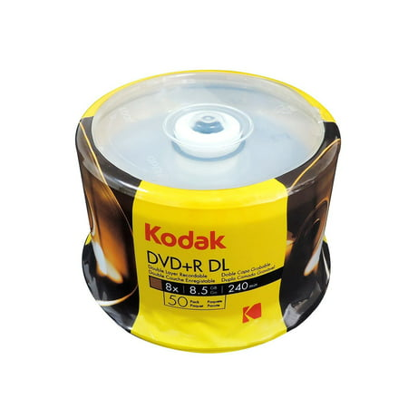 50 KODAK Blank DVD+R DL Dual Double Layer 8X Logo Branded 8.5 GB Media -
