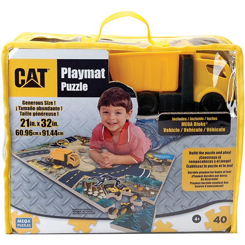World of CAT Caterpillar Foam Puzzle Playmat with MEGA Bloks Truck