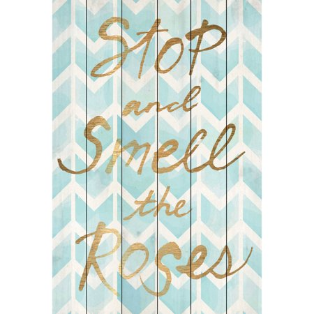 Marmont Hill  Smell The Roses  Painting Print On White Wood