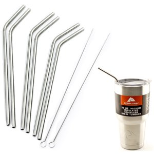 6 Bend LONG 30 oz Stainless Steel Straws fits Ozark Trail Ounce Double-Wall Rambler Vacuum Cups CocoStraw Drinking Straw