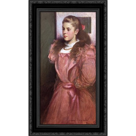 - Young Girl in Rose 16x24 Black Ornate Wood Framed Canvas Art by Alexander, John White