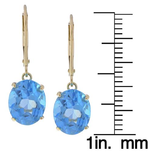 Kabella Jewelry Kabella 14k Yellow Gold Oval Blue Topaz Leverback Earrings by Overstock
