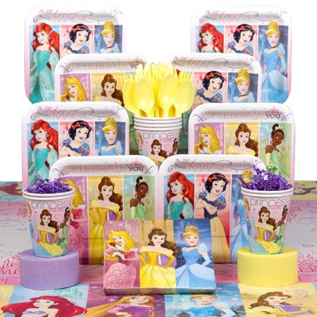 Disney Princess Birthday Party Deluxe Tableware Kit Serves 8 - Princess Birthday Themes