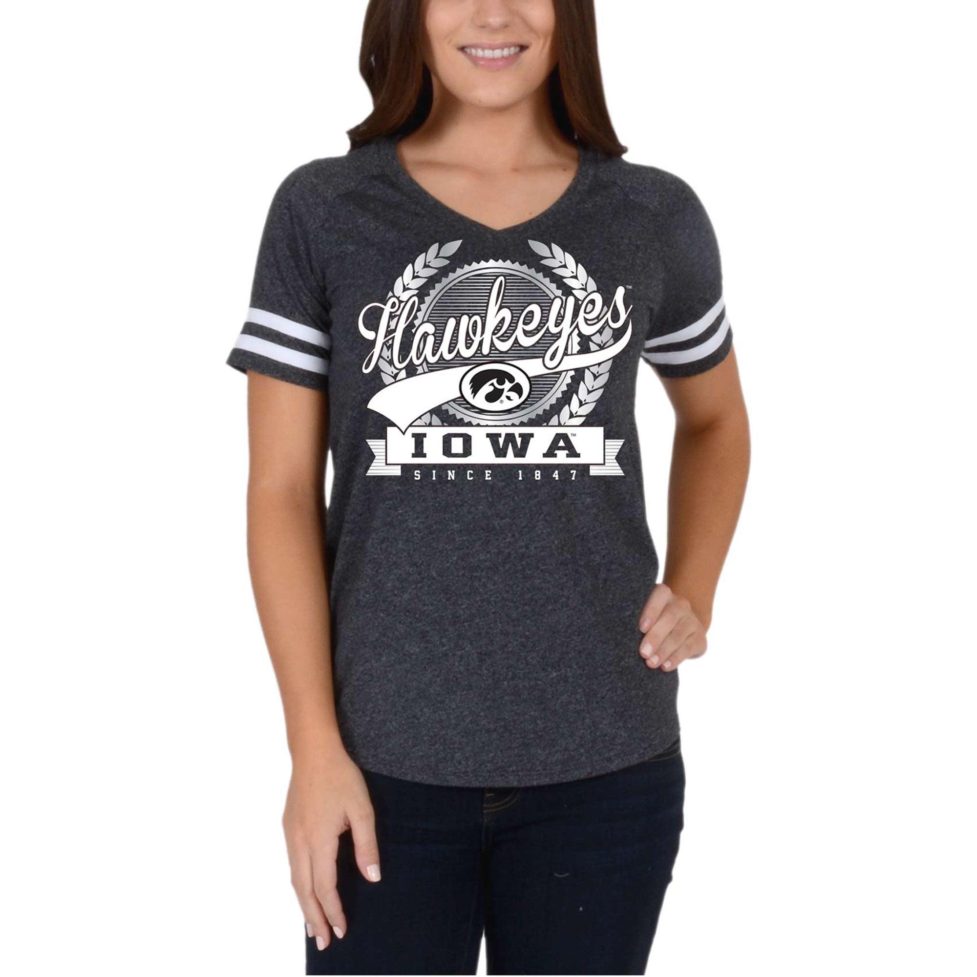 Women's Black Iowa Hawkeyes Laurel Script V-Neck T-Shirt