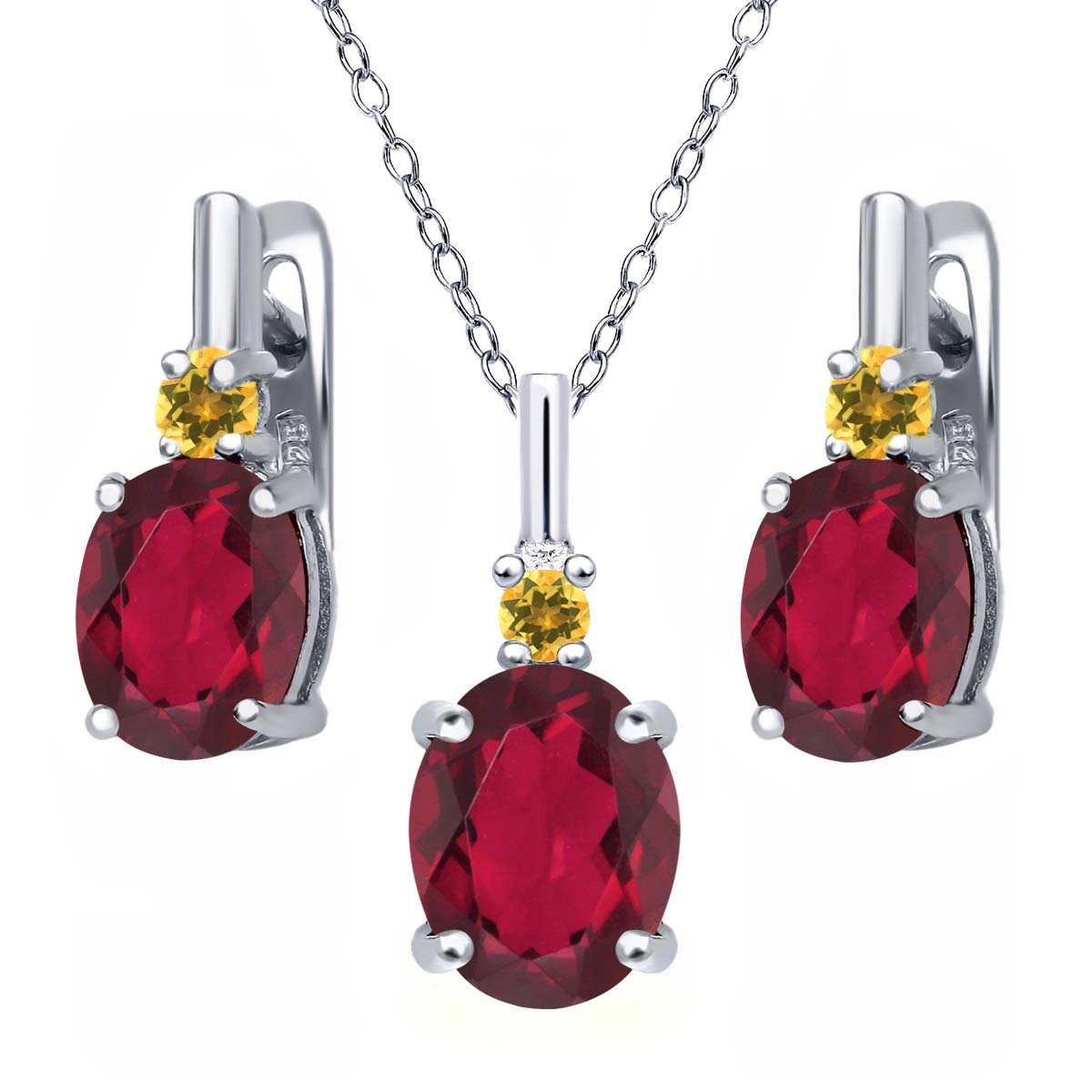 6.97 Ct Red Mystic Quartz and Simulated Citrine 925 Silver Pendant Earrings Set by