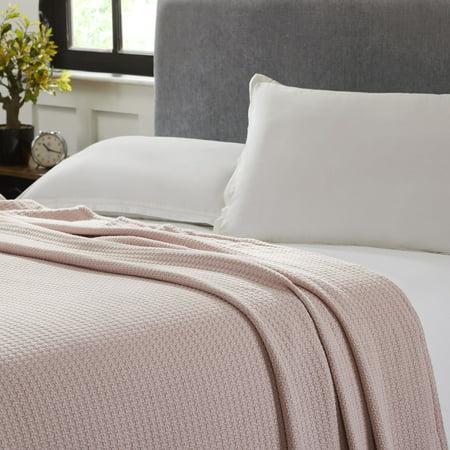100 Cotton Waffle Weave Thermal Blanket Dusty Rose Walmart Com