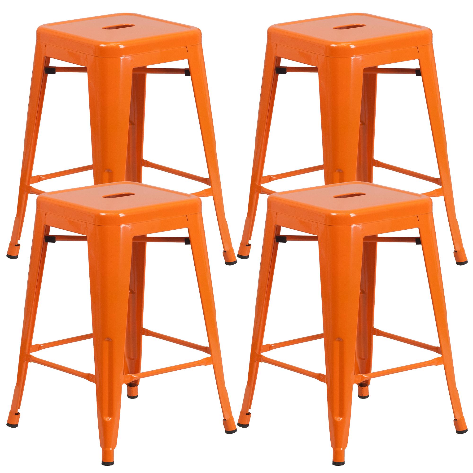 """Vogue Furniture Direct Barstool 24"""" backless metal Stools ORANGE (Set of 4) VF1571003-4"""