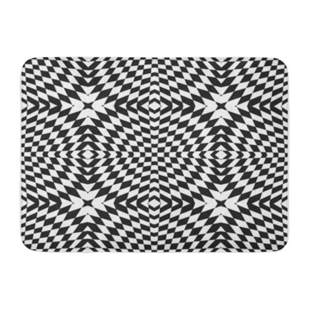 LADDKE Geometric Checkered Pattern Black and White Cross Shapes Rhombuses Optical Doormat Floor Rug Bath Mat 30x18 inch