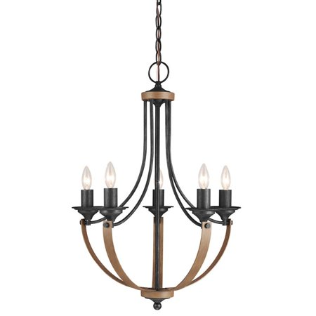 Sea Gull Lighting 3280405 Stardust / Cerused Oak Corbeille 5 Light Candle Style Chandelier Williamsburg Style Chandelier