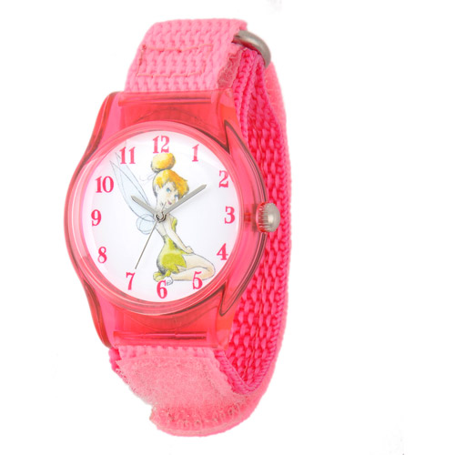 Disney Tinker Bell Girls' Plastic Case Watch, Pink Nylon Strap