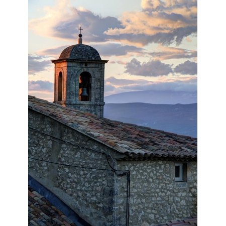 France, Provence, Lacoste. Church Bell Tower at Sunset in the Hill Town of Lacoste Print Wall Art By Julie