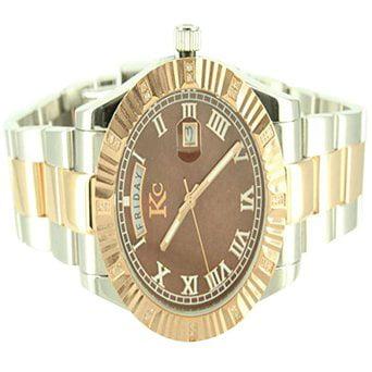 Two Tone White Yellow Gold Finish Chocolate Dial Kc Diamond Steel Watch Men