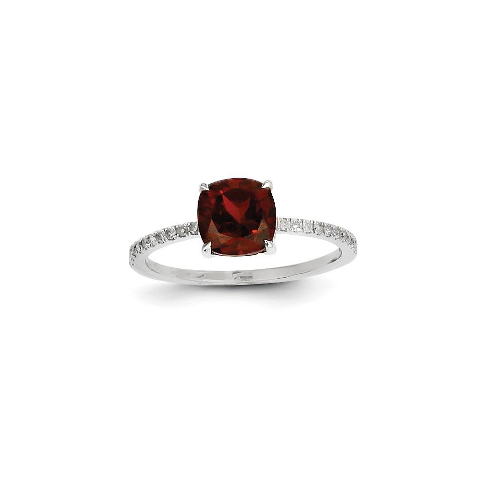 14k White Gold Diamond & Garnet Cushion Gemstone Ring