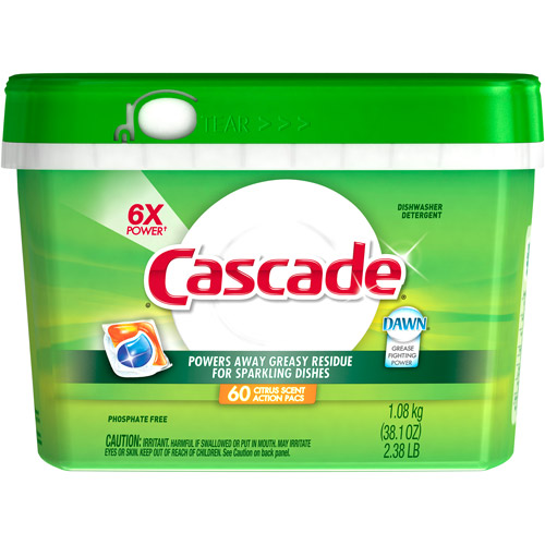 Cascade ActionPacs Dishwasher Dish Detergent, Citrus, 38.1 oz