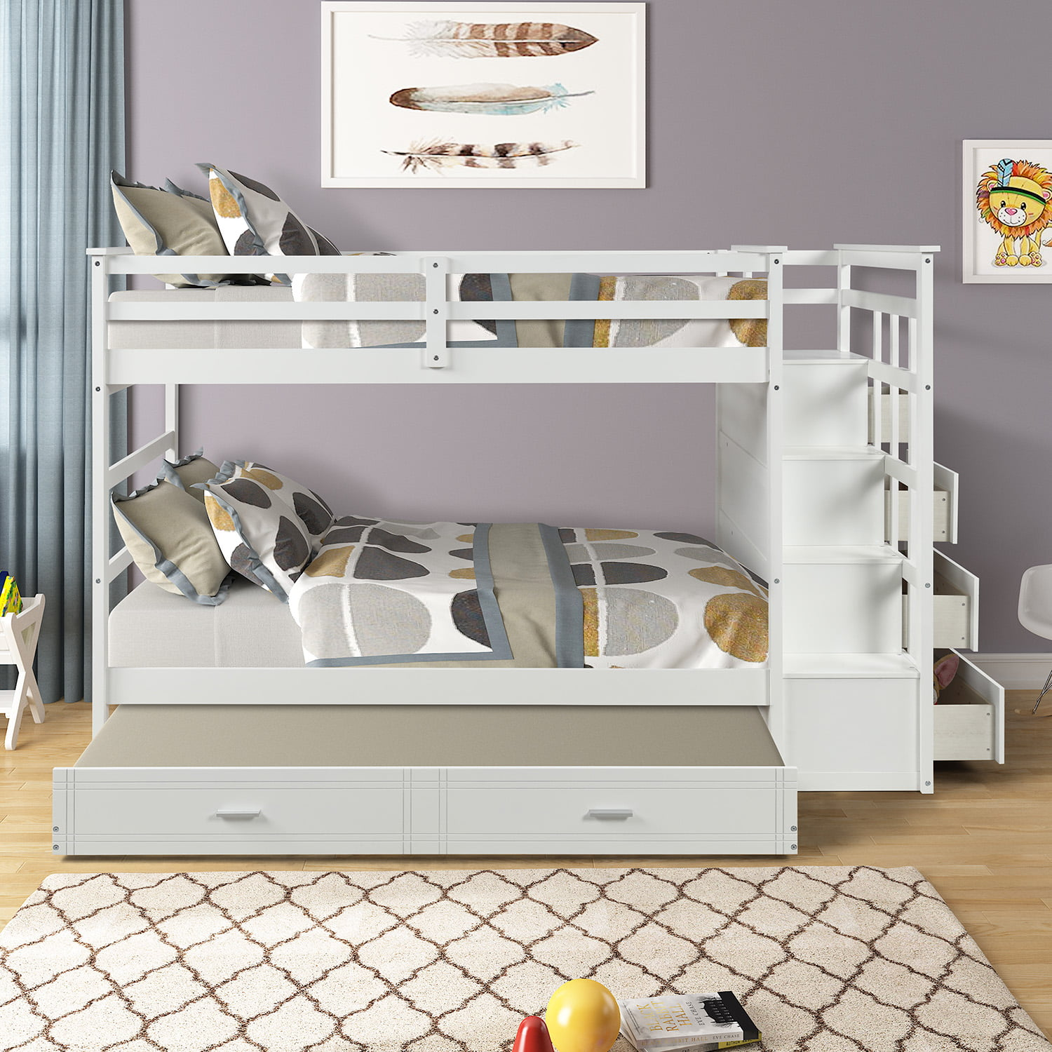 Picture of: Wood Bunk Bed Twin Bunk Beds For Kids 91 3 X 42 4 X 65 7 Solid Wood Bunk Bed With 3 Twin Bed Frame And 4 Drawers Sturdy 4 Step Ladder Full Length Guardrails Easy Assembly