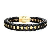 Inox BRRALT7BLKGLD 8.5 in. Mens Bracelet - Black Leather with Gold IP