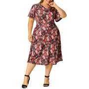 Women's Plus Size Short Sleeve Flare Midi Floral Dress 4X Red