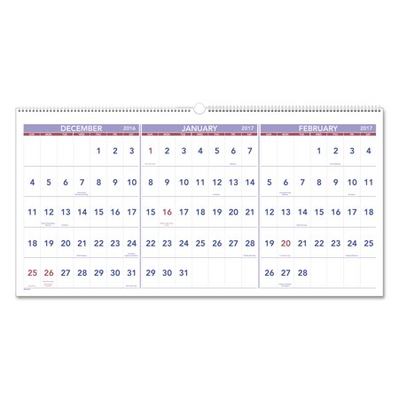 at a glance horizontal format three month reference wall calendar